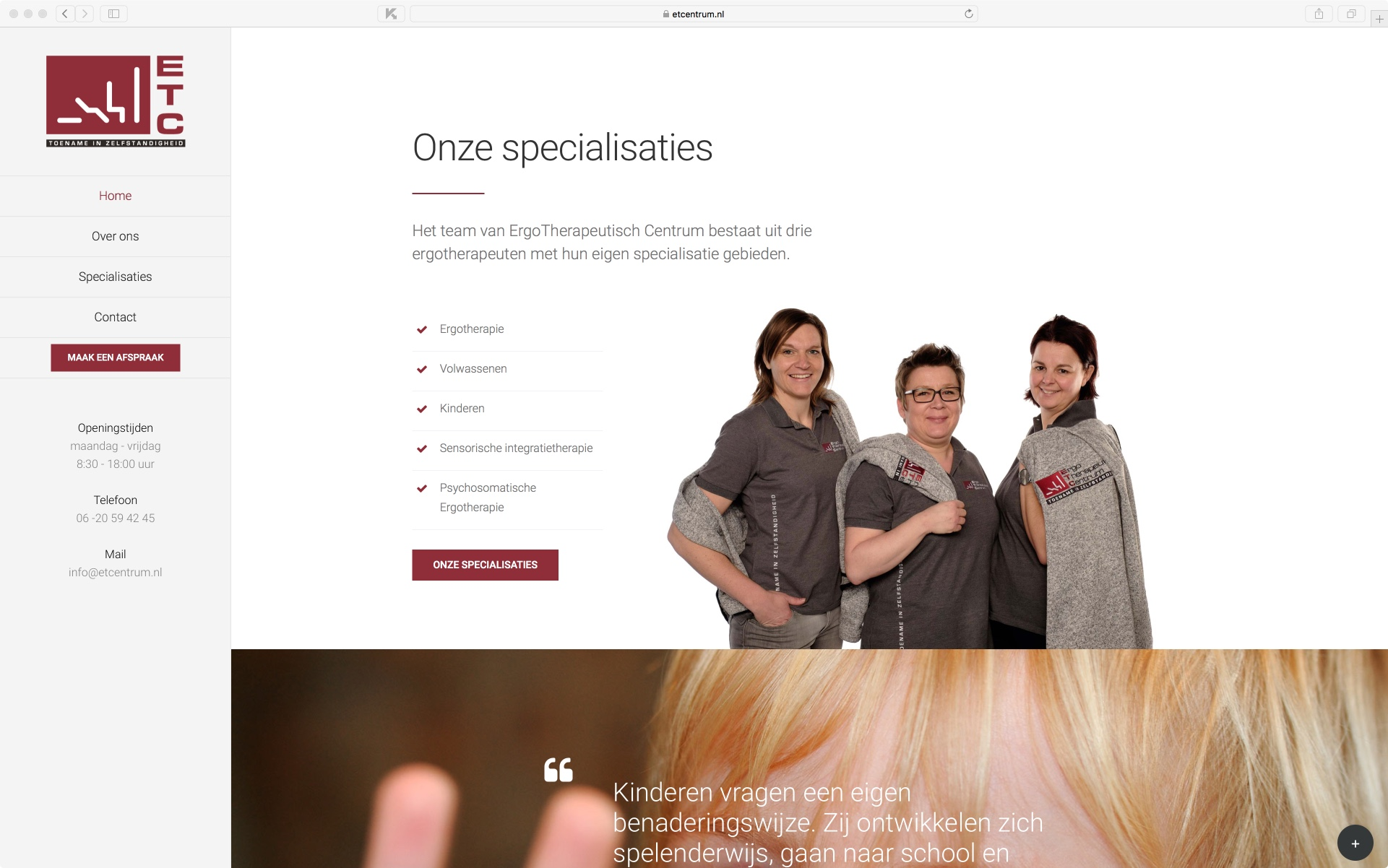 ETCentrum website – Onze specialisaties