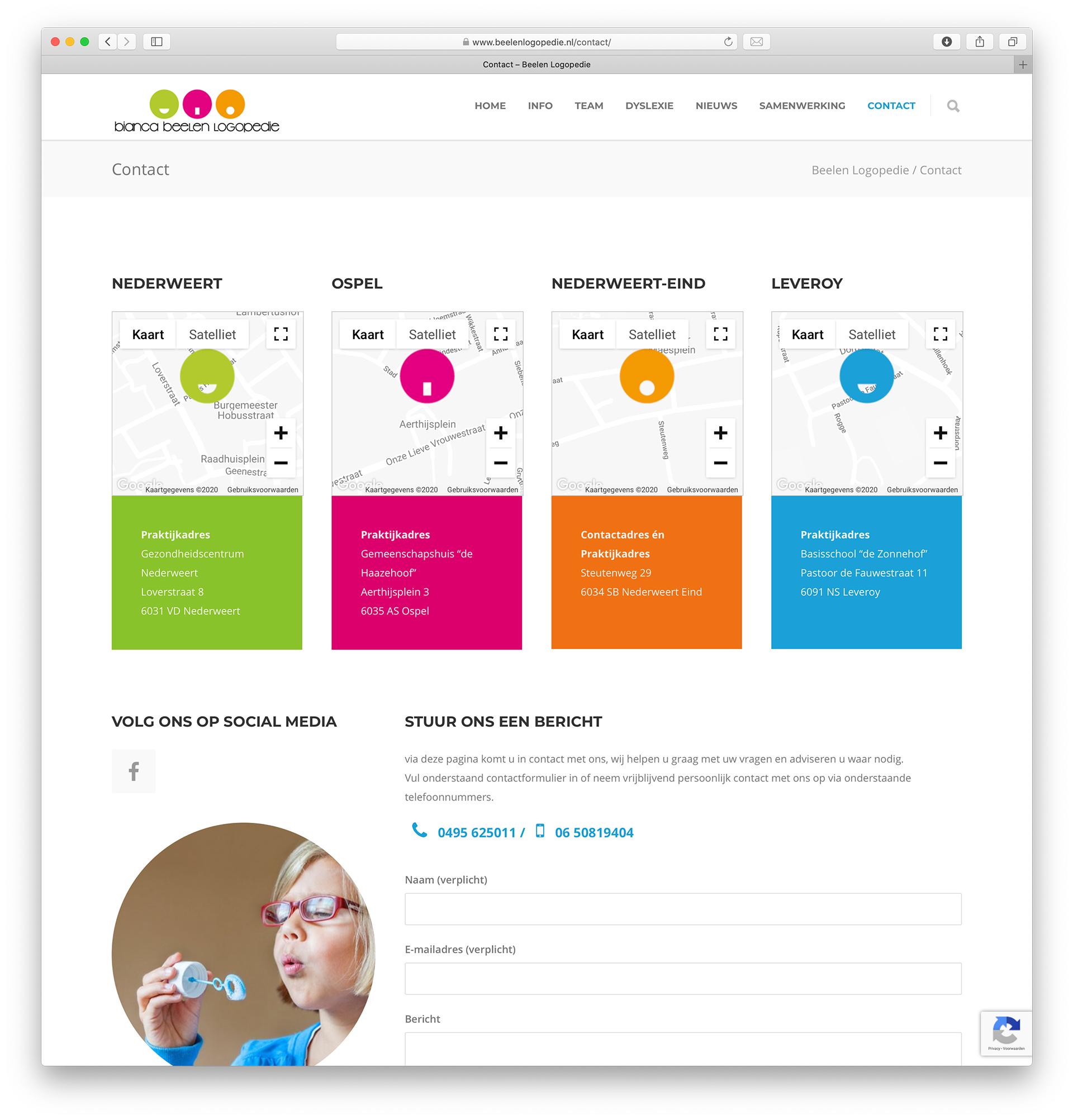 Beelen Logopedie website – contact