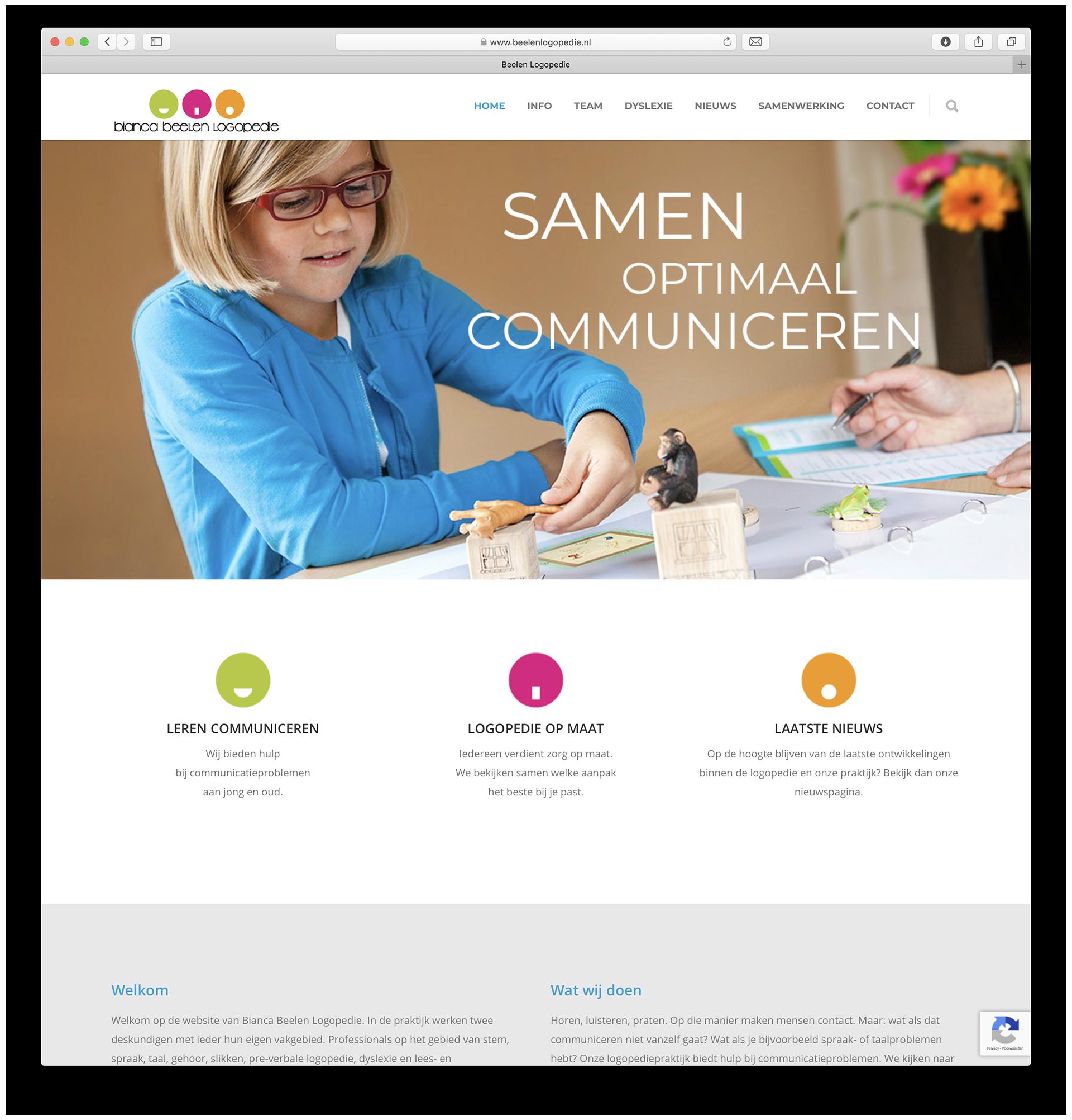 Beelen Logopedie website – homepage